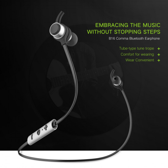 Baseus B16 Comma Bluetooth Earphone - Ασύρματα Ακουστικά για Smartphone / iPhone - Silver / Black - NGB16-0S