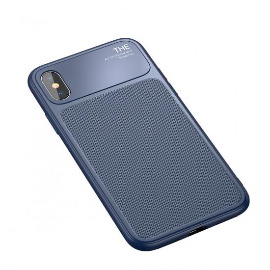 Baseus Apple iPhone X / XS Luxury Knight Θήκη Σιλικόνης με Μερικό Φινίρισμα Γυαλιού - Blue - WIAPIPHX-JU03