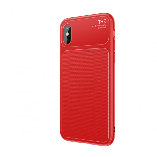 Baseus Apple iPhone X Luxury Knight Θήκη Σιλικόνης με Μερικό Φινίρισμα Γυαλιού - Red - WIAPIPHX-JU09