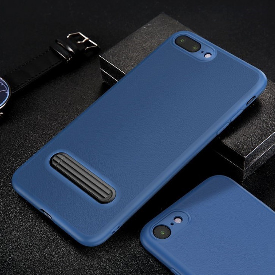 Baseus Apple iPhone 7 / 8 Happy Watching Supporting Θήκη Σιλικόνης με Stand - Royal Blue - WIAPIPH8N-LS15