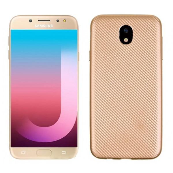OEM Samsung Galaxy J3 2017 Θήκη Σιλικόνης Carbon Fiber - Gold
