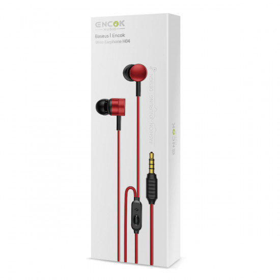 Baseus Encok H04 Handsfree Ακουστικά με Ενσωματωμένο Μικρόφωνο - Red - NGH04-09