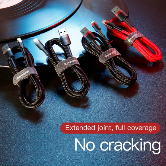 Baseus Kevlar Lightning Quick Charge Cable - Υψηλής Ταχύτητας Καλώδιο Lightning Γρήγορης Φόρτισης 1.5A 2M - Grey / Black - CALKLF-CG1