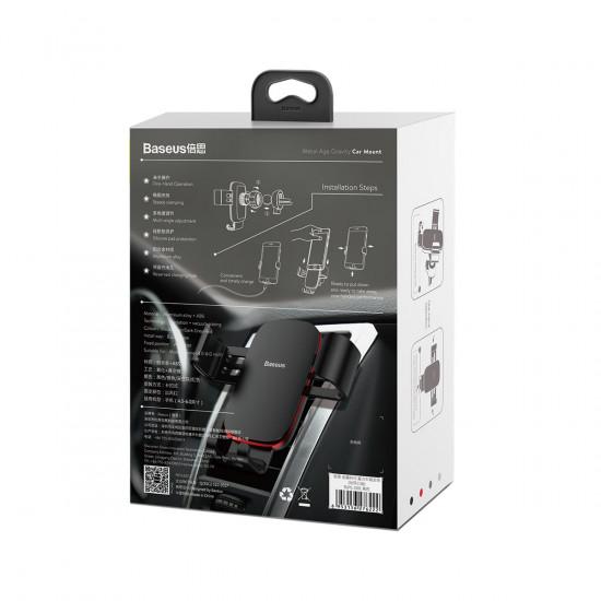 Baseus Metal Age Gravity Car Air Vent Mobile Holder - Universal Βάση Αυτοκινήτου Αεραγωγού - Black - SUYL-D01