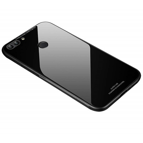 OEM Huawei P Smart Θήκη με Πλαίσιο Σιλικόνης και Όψη Γυαλιού Tempered Glass - Black