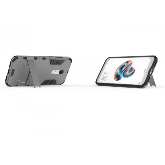 OEM Xiaomi Redmi 5 Plus Hybrid Armor Kickstand Case Σκληρή Θήκη Υψηλής Προστασίας με Πλαίσιο Σιλικόνης και Stand - Grey