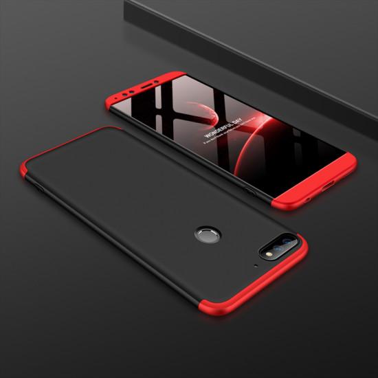 GKK Huawei Y7 2018 / Y7 Prime 2018 Θήκη 360 Full Body - Black / Red