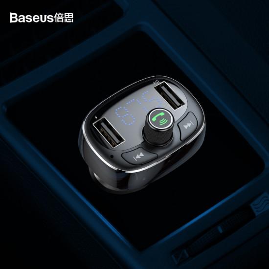 Baseus S-09 T Typed για Αναπαραγωγή Μουσικής / Handsfree Κλήσεις / Φόρτιση Κινητών στο Αυτοκίνητο - Car MP3 Audio Player Bluetooth Car Kit FM Transmitter Handsfree Calling 5V 3.4A Dual USB Car Charger - Black - CCALL-TM01