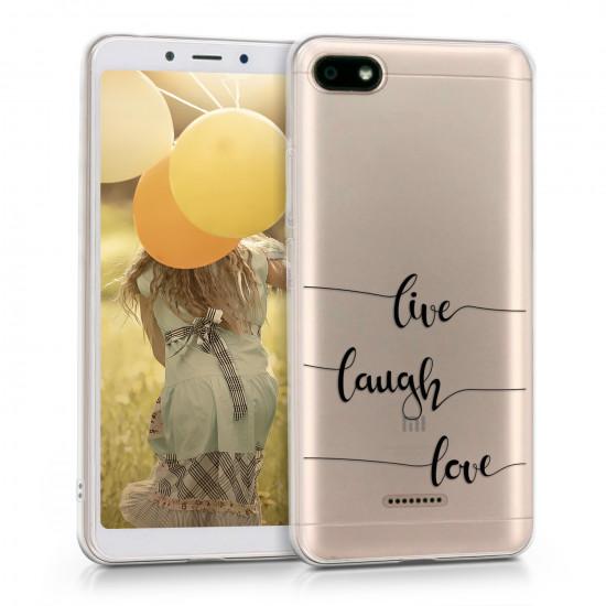 KW Xiaomi Redmi 6A Θήκη Σιλικόνης TPU Design Live Laugh Love - Black - Διάφανη - 45587.01