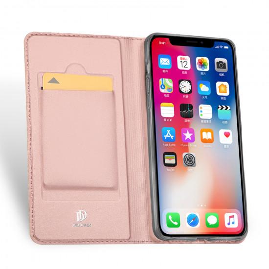 Dux Ducis Apple iPhone XS Max Flip Stand Case Θήκη Βιβλίο - Rose Gold