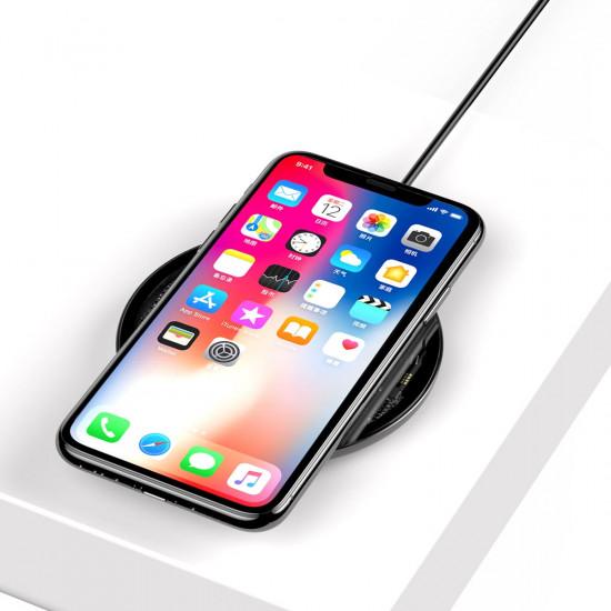 Baseus Simple Wireless Charger for Smartphones - Ασύρματος Φορτιστής Qi Charge με Καλώδιο USB Lightning - Μαύρο / Διάφανο - CCALL-AJK01