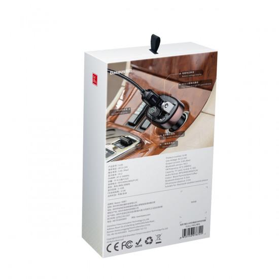 Baseus S-09 T Typed για Αναπαραγωγή Μουσικής / Handsfree Κλήσεις / Φόρτιση Κινητών στο Αυτοκίνητο - Car MP3 Audio Player Bluetooth Car Kit FM Transmitter Handsfree Calling 5V 3.4A Dual USB Car Charger - Tarnish - CCALL-TM0A