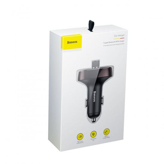 Baseus S-09 T Typed για Αναπαραγωγή Μουσικής / Handsfree Κλήσεις / Φόρτιση Κινητών στο Αυτοκίνητο - Car MP3 Audio Player Bluetooth Car Kit FM Transmitter Handsfree Calling 5V 3.4A Dual USB Car Charger - Dark Coffee - CCALL-TM12