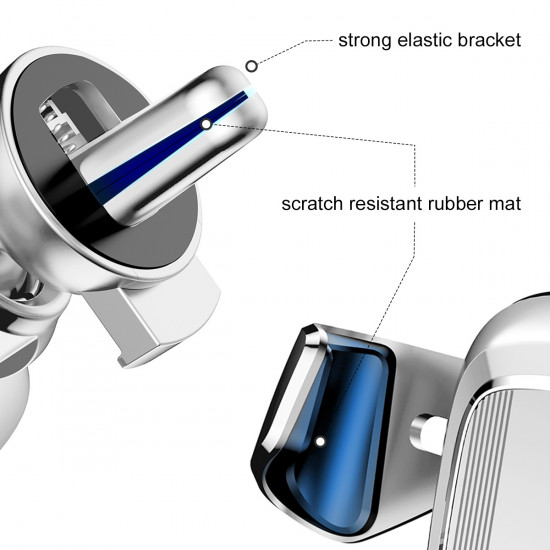Baseus Gravity Car Air Vent Mobile Holder - Universal Βάση Αυτοκινήτου Αεραγωγού - Silver - SUYL-0S