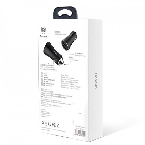 Baseus Golden Contactor Dual U Intelligent Car Charger - Φορτιστής Αυτοκινήτου 2.4A 2xUSB Ports - Black - CCALL-DZ01