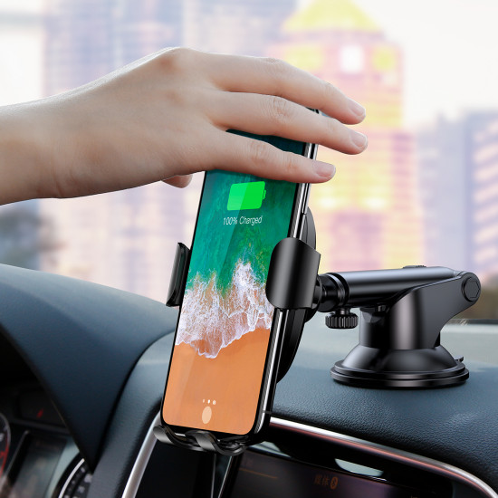 Baseus Wireless Charger Gravity Car Holder (Osculum Type) - Universal Βάση Αυτοκινήτου με Ασύρματη Φόρτιση Qi Charge - Black - WXYL-A01