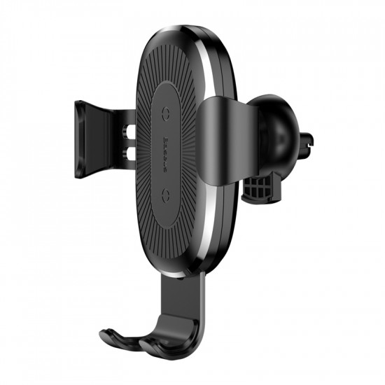 Baseus Wireless Charger Gravity Air Vent CarHolder - Universal Βάση Αυτοκινήτου Αεραγωγού με Ασύρματη Φόρτιση Qi Charge - Black - WXYL-01