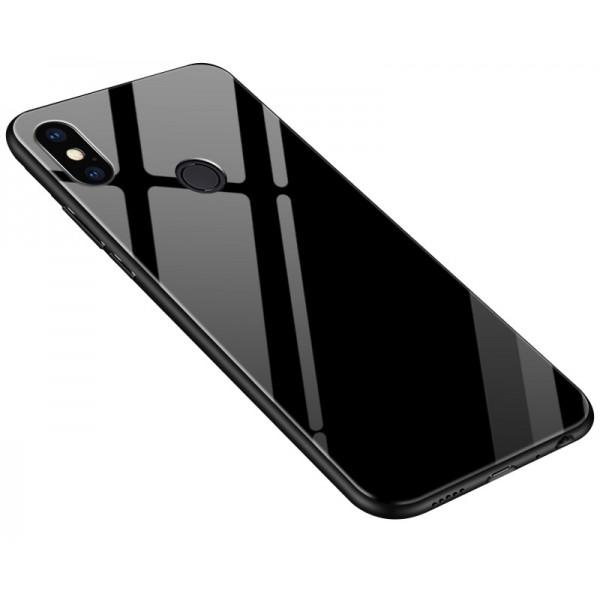 OEM Xiaomi Mi A2 Lite Θήκη με Πλαίσιο Σιλικόνης και Όψη Γυαλιού Tempered Glass - Black