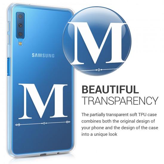 KW Samsung Galaxy A7 2018 Θήκη Σιλικόνης TPU Design Letter M - White - Διάφανη - 46430.03