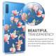 KW Samsung Galaxy A7 2018 Θήκη Σιλικόνης TPU Design Magnolias - Pink - Διάφανη - 46430.01