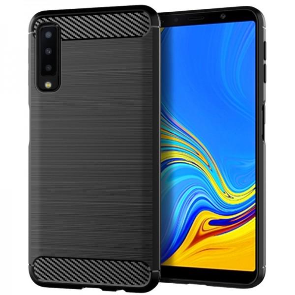 OEM Samsung Galaxy A7 2018 Θήκη Rugged Carbon TPU - Black