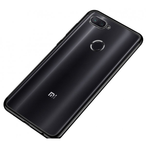 OEM Xiaomi Mi 8 Lite Electroplating Θήκη Σιλικόνης TPU - Black - Διάφανη