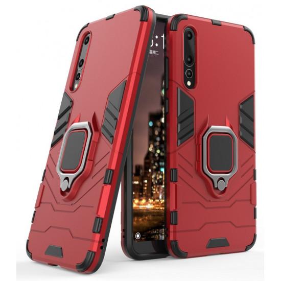 OEM Huawei P20 Pro Rugged Armor Σκληρή Θήκη Υψηλής Προστασίας με Πλαίσιο Σιλικόνης και Δαχτυλίδι Συγκράτησης - Red