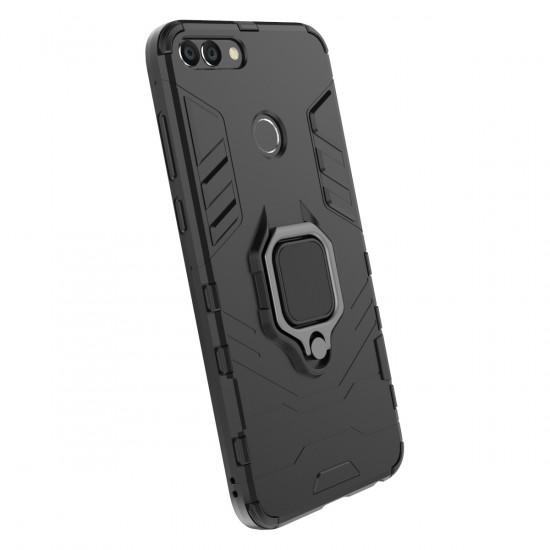 OEM Huawei P Smart Rugged Armor Σκληρή Θήκη Υψηλής Προστασίας με Πλαίσιο Σιλικόνης και Δαχτυλίδι Συγκράτησης - Black