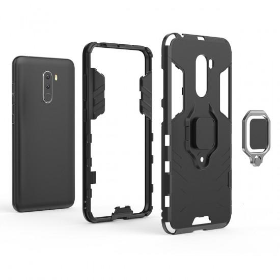 OEM Xiaomi Pocophone F1 Rugged Armor Σκληρή Θήκη Υψηλής Προστασίας με Πλαίσιο Σιλικόνης και Δαχτυλίδι Συγκράτησης - Black