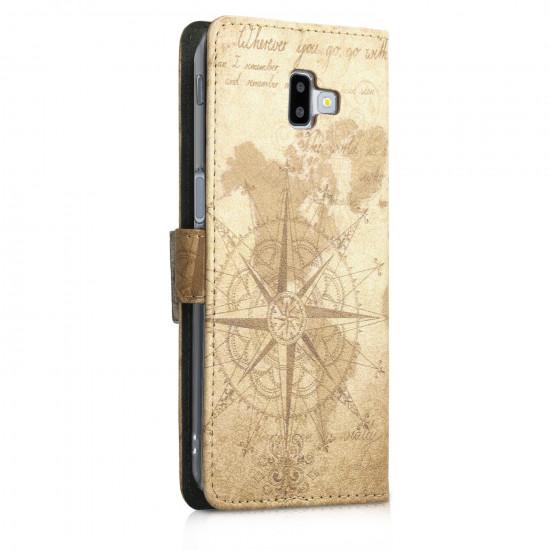 KW Samsung Galaxy J6 Plus 2018 Θήκη Πορτοφόλι Stand - Design World Map - Light Brown - 46443.01