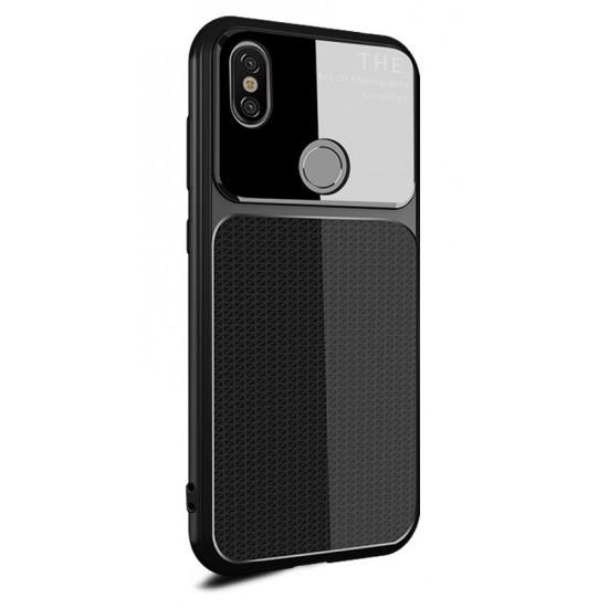 OEM Xiaomi Redmi Note 5 Θήκη Σιλικόνης με Μερικό Φινίρισμα Γυαλιού - Black