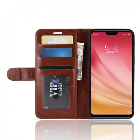 OEM Xiaomi Mi 8 Lite Θήκη Πορτοφόλι Stand από Δερματίνη - Brown