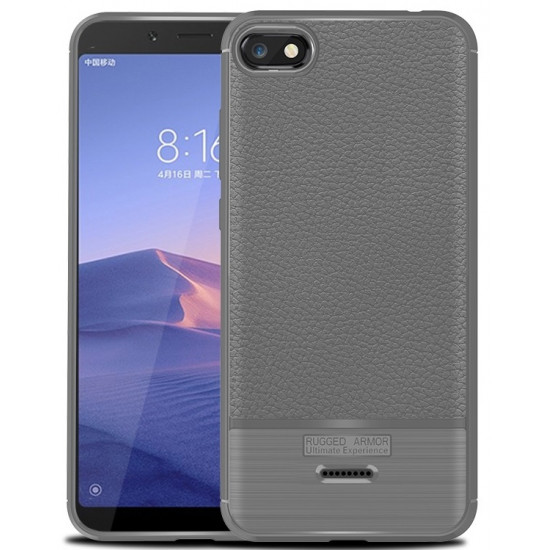 OEM Xiaomi Redmi 6a Dermatoglyphic Θήκη Σιλικόνης TPU με Δερμάτινη Όψη - Grey