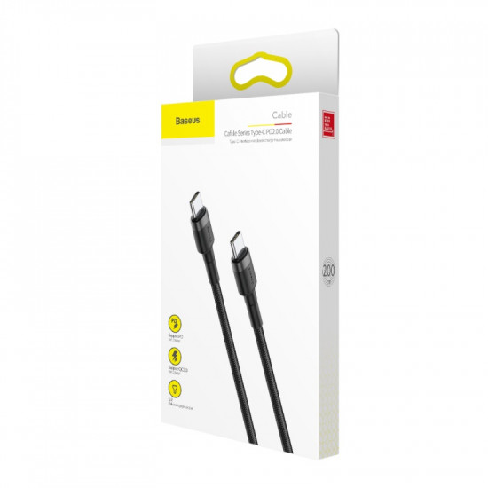 Baseus Cafule Cable Type-C 3A PD 2.0 Flash Charging - Καλώδιο Γρήγορης Φόρτισης Type-C to Type-C 2M - Black / Grey - CATKLF-HG1