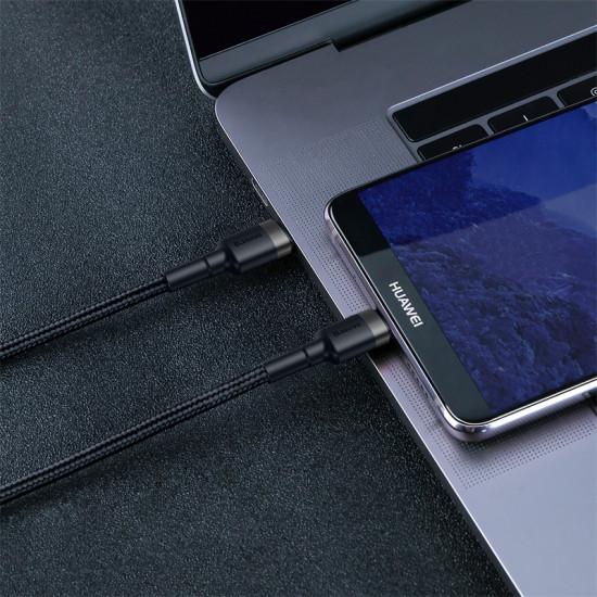 Baseus Cafule Cable Type-C 3A PD 2.0 Flash Charging - Καλώδιο Γρήγορης Φόρτισης Type-C to Type-C 2M - Black / Grey - CATKLF-HG1