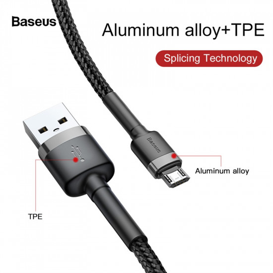 Baseus Cafule Cable  2.4A with Reversible Double Sided Entry Connector - Καλώδιο Δεδομένων και Φόρτισης Micro USB 1M - Black / Grey - CAMKLF-BG1