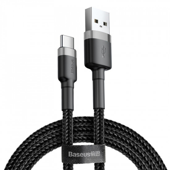 Baseus Cafule Cable Type-C 2A - Καλώδιο Δεδομένων και Φόρτισης Type-C 2M - Black / Grey - CATKLF-CG1