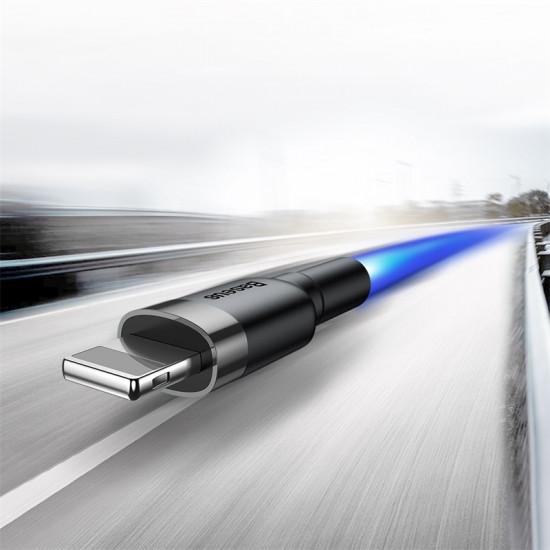 Baseus Cafule Cable Lightning 2.4A - Καλώδιο Δεδομένων και Φόρτισης Lightning 1M για iPhone  - Black / Grey - CALKLF-BG1
