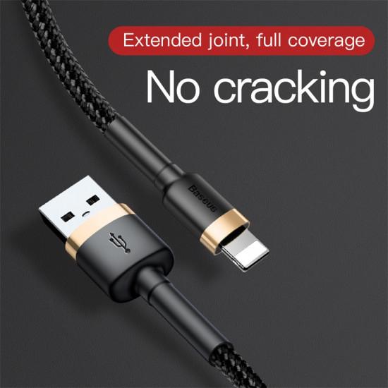 Baseus Cafule Cable Lightning 2.4A - Καλώδιο Δεδομένων και Φόρτισης Lightning 1M για iPhone - Black / Gold - CALKLF-BV1