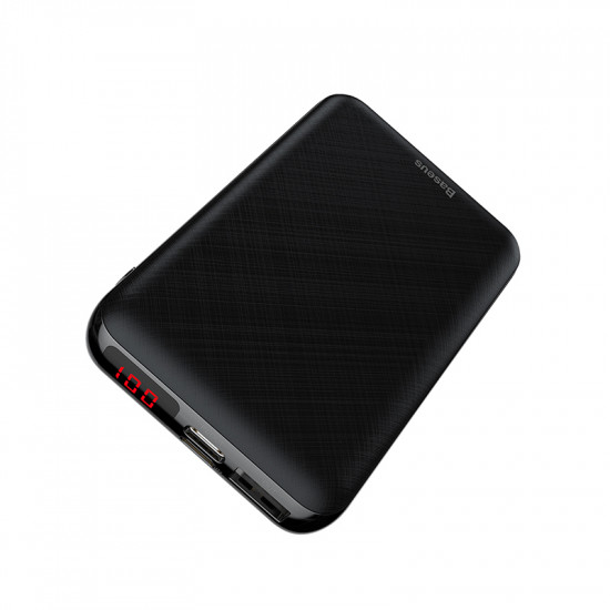 Baseus Mini S Digital PD Quick Charge External Battery Power Bank 10000mAh 3A for Smartphones - Black - PPALL-XF01