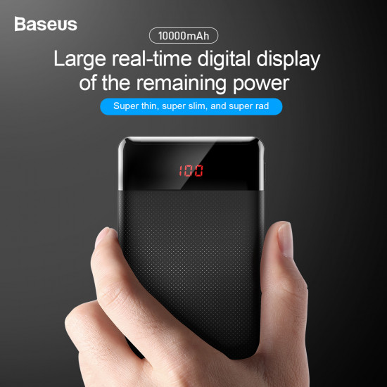 Baseus Mini CU Digital External Battery Power Bank with 2 USB 10000mAh 2.1A for Smartphones - Black - PPALL-AKU01