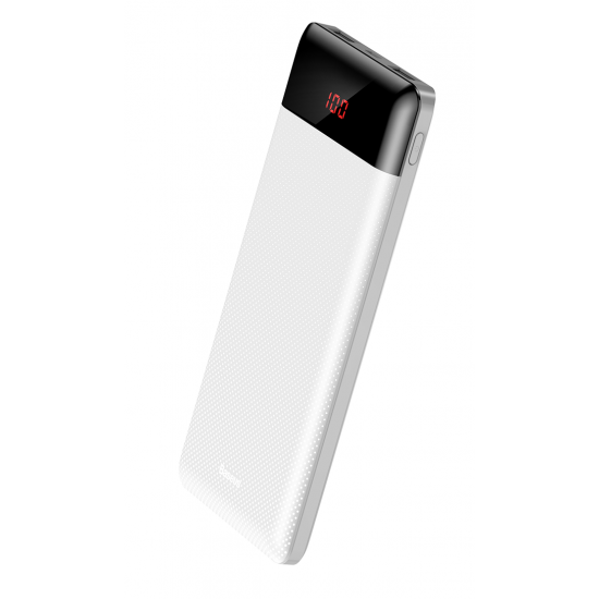 Baseus Mini CU Digital External Battery Power Bank with 2 USB 10000mAh 2.1A for Smartphones - White - PPALL-AKU02