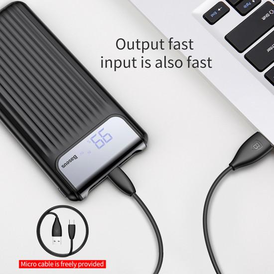 Baseus Thin Digital 10000mAh 2.1A External Battery Power Bank with 2 USB for Smartphones - Black - PPYZ-C01