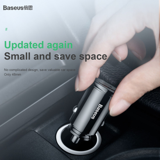 Baseus Circular Plastic Φορτιστής Αυτοκινήτου Γρήγορης Φόρτισης 5A 30W - Black - CCALL-YS01