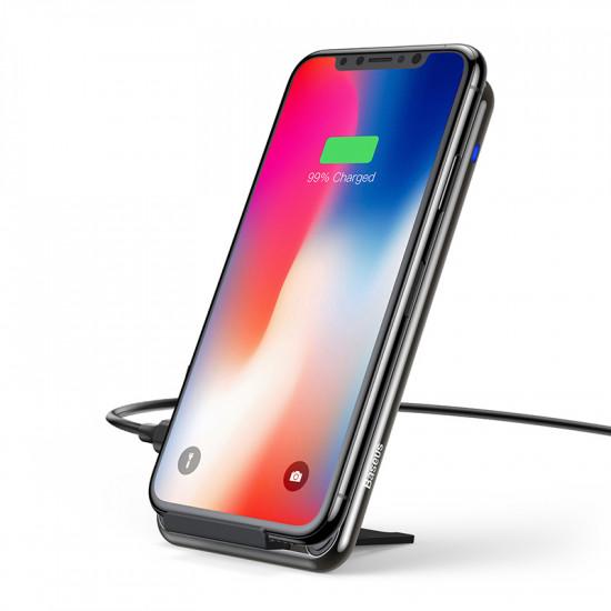 Baseus Three-Coil Wireless Charger for Smartphones - Βάση Ασύρματη Φόρτισης Qi Charge με Καλώδιο Type-C - Μαύρο - WXHSD-B01