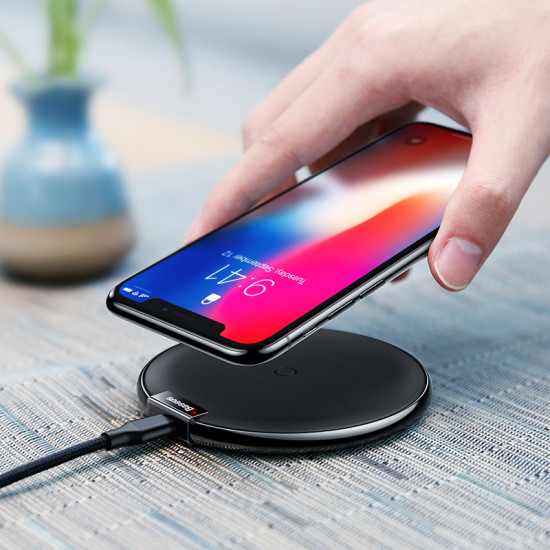 Baseus IX Wireless Charger for Smartphones - Ασύρματος Φορτιστής Qi Charge με Καλώδιο Micro USB - Μαύρο - WXIX-01