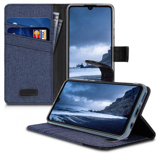 KW Huawei P30 Lite Θήκη Πορτοφόλι Stand Canvas - Dark Blue / Black - 47502.02