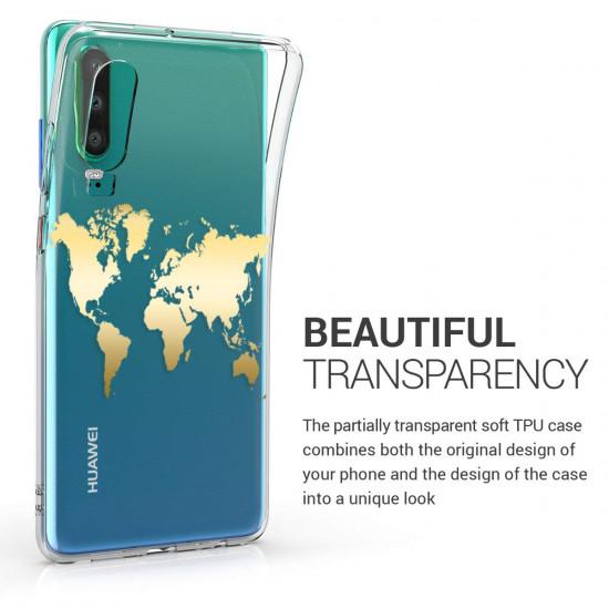 KW Huawei P30 Θήκη Σιλικόνης TPU Design World Map - Gold - Διάφανη - 47413.01