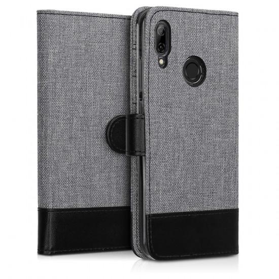 KW Huawei P Smart 2019 Θήκη Πορτοφόλι Stand Canvas - Grey / Black - 47396.01