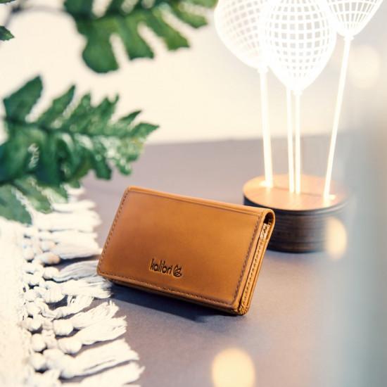 Kalibri Πορτοφόλι για Επαγγελματικές Κάρτες από Γνήσιο Δέρμα με Μαγνητικό Κλείσιμο - Brown - 41511.83